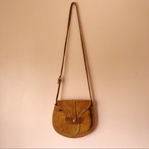 Vintage Cognac Tooled Leather Crossbody Bag